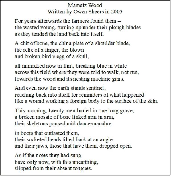 """Poem """"Mametz Wood"""" written by Owen Sheers"""