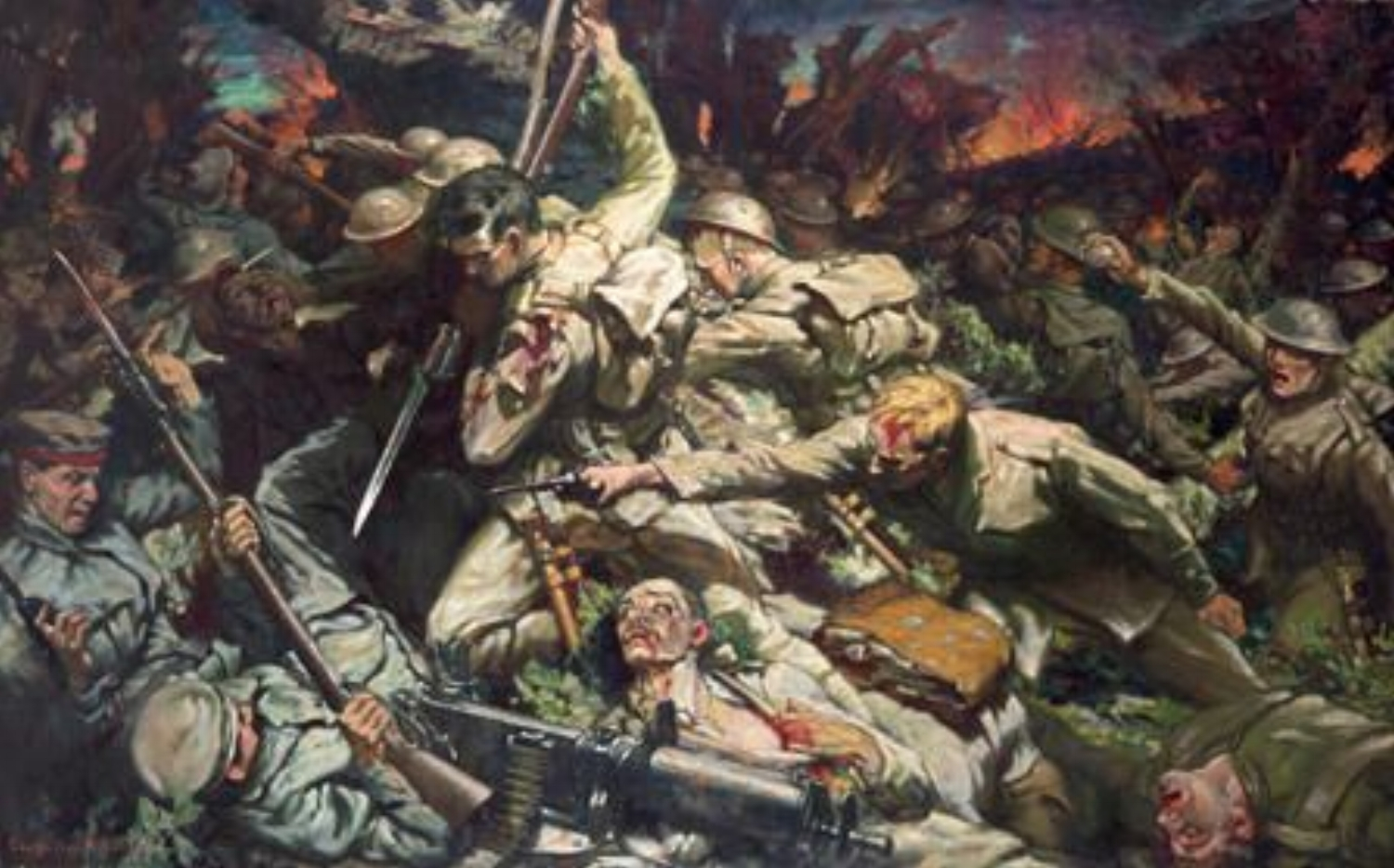 """""""The Welsh at Mametz Wood"""" painted by the Welsh artist Christopher Williams (1873–1934)"""