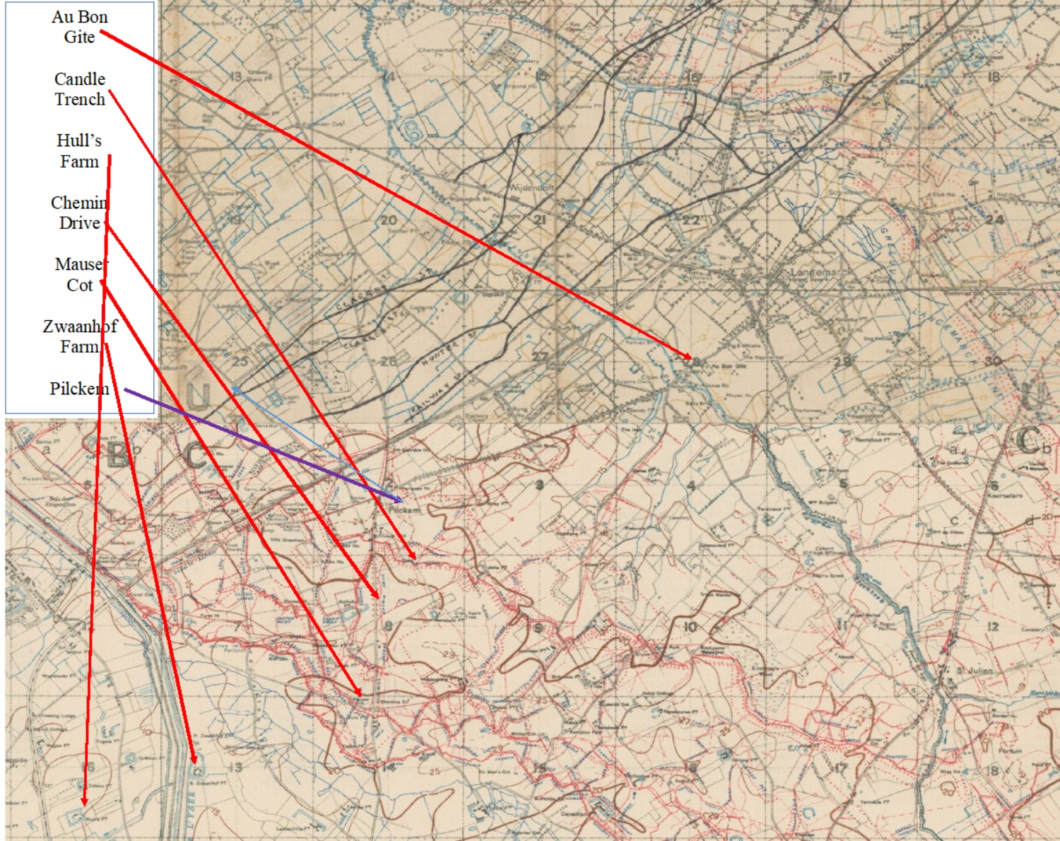 """Combination of extracts from British First World War trench maps, 20 SW Edition 5A (upper part) and 28 NW Edition 6A (lower part), showing the region around Pilckem where the men of the 11th Battalion South Wales Borderers took part in """"The Attack at the River Steenbeck""""."""
