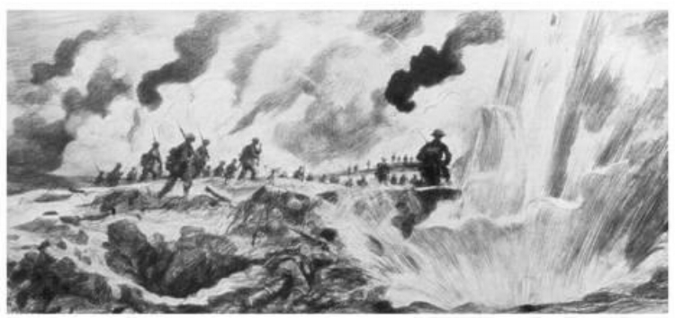 """""""The Attack at the River Steenbeck, Belgium, 31 July 1917"""" by the Anglo-French artist and illustrator Sir Amédée Forestier"""