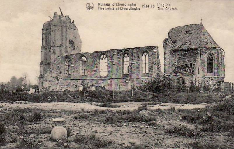The ruins of Elverdinghe Church following its bombardment during WW1