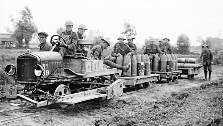 The Royal Garrison Artillery at Elverdinghe taking up shells by motor-driven light railway (tramway) during the Battle of Langemark, 19 August 1917