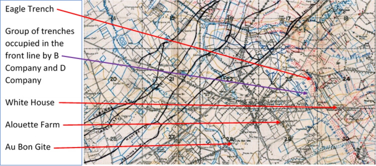 Extract from the British First World War trench map 20 SW Edition 5A showing the region around Langemark occupied by the men of the 11th Battalion South Wales Borderers on the night of 23/24 August 1917.
