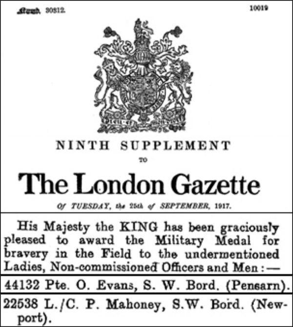Extracts from the 25 September 1917 Supplement to The London Gazette recording the Military Medal citations for Lt/Cpl Mahoney and Private Evans.