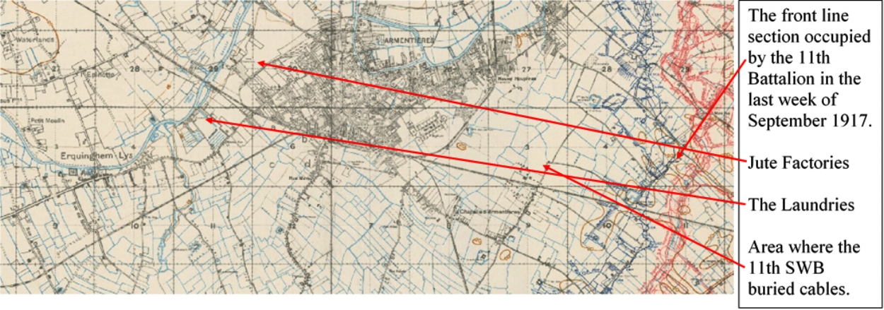 Extract from the British First World War trench map 36 NW Edition 8A showing the region south of Armentières occupied by the men of the 11th Battalion South Wales Borderers during September and October 1917.