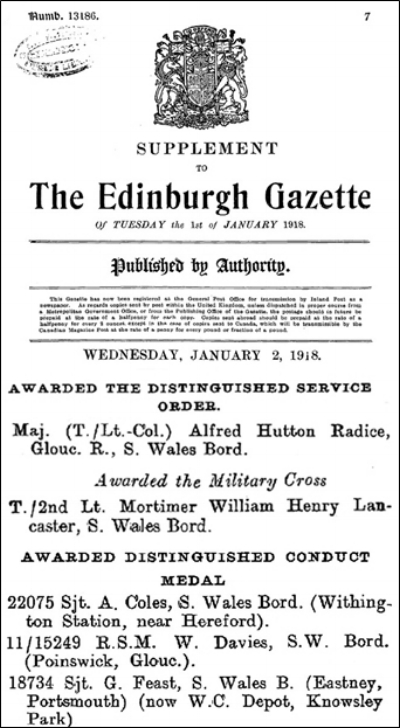 Extract from the 1st of January 1918 Supplement to the London Gazette
