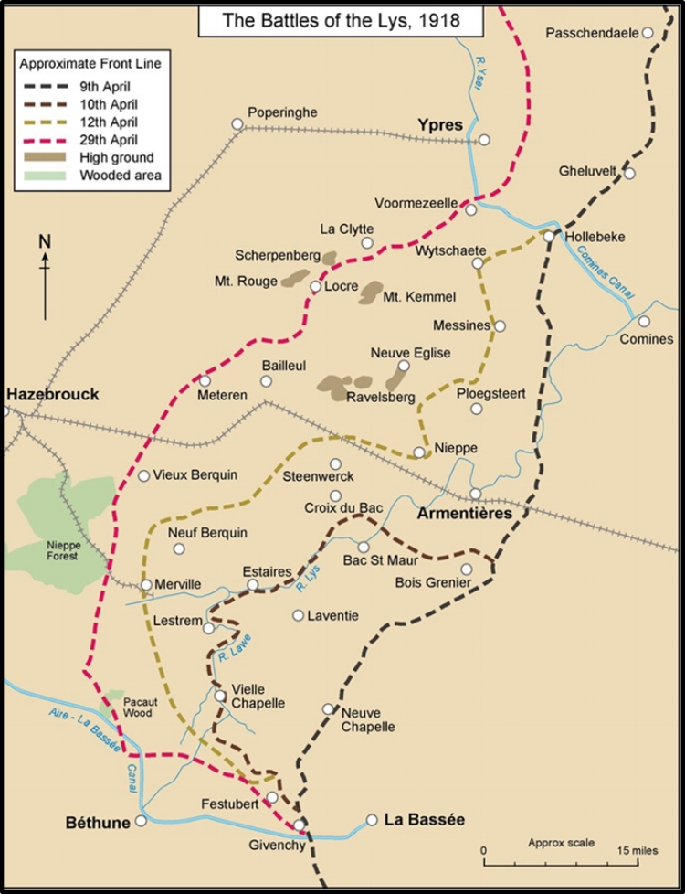 Map showing the positions of the front line during the Battles of the Lys in April 1918