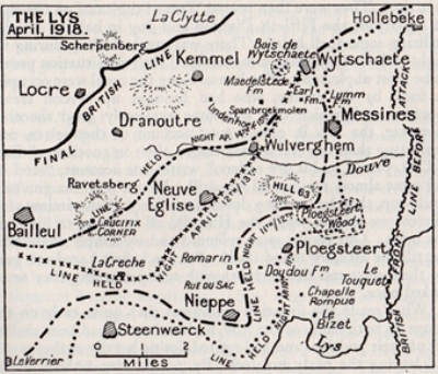 Map showing the northern region of the Battle of the Lys in April 1918