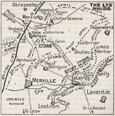 Map showing the southern region of the Battle of the Lys in April 1918