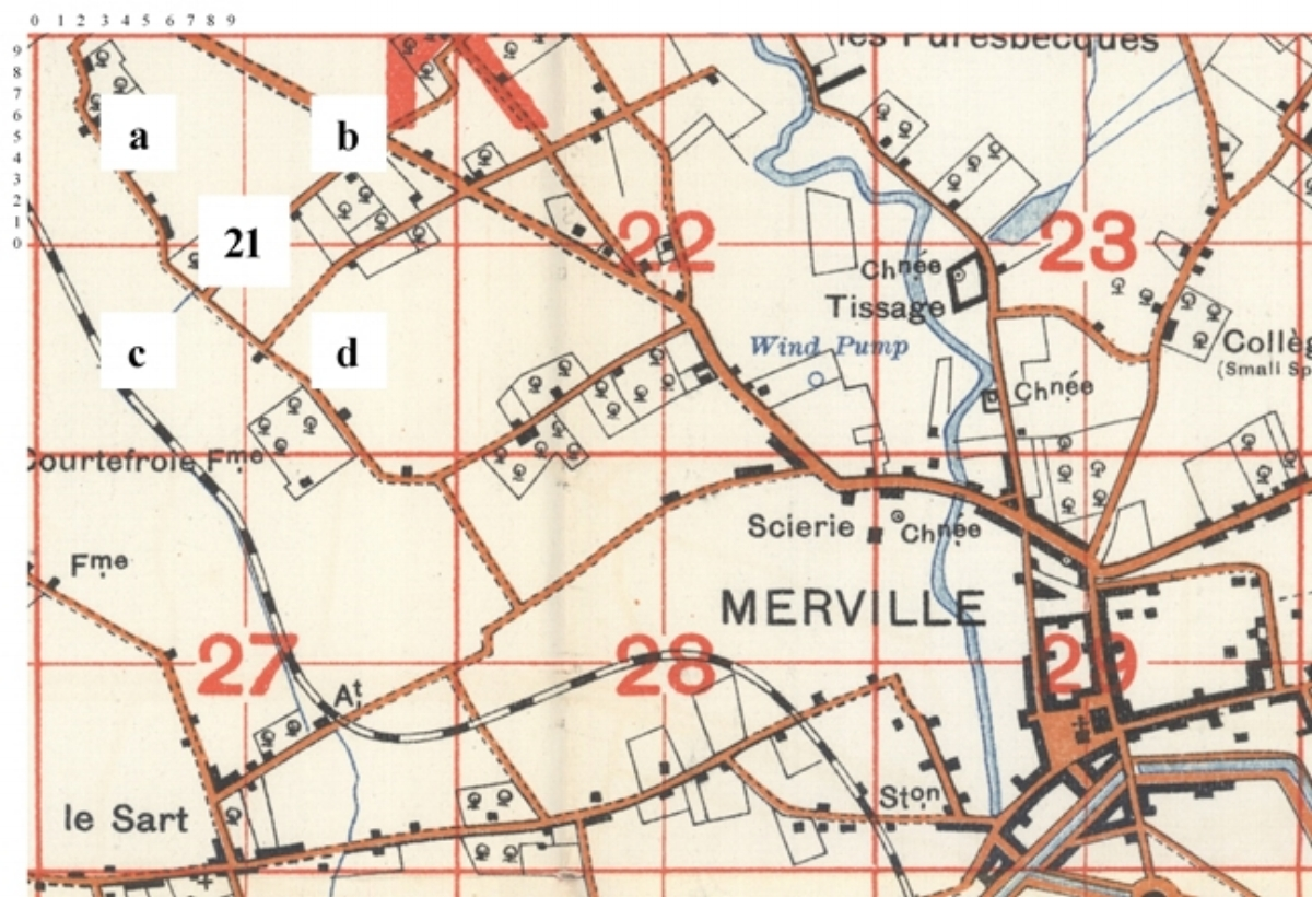 Extract from the 1915 British Trench Map 36A NE Edition 2 used to explain how locations were referenced