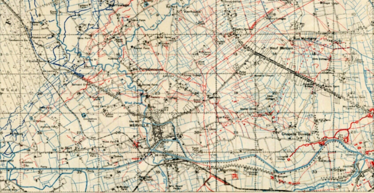 Section of the 1918 British Trench Map 36A NE Edition 7A showing the area around Merville