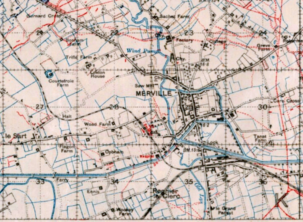 Extract from the British Trench Map 36A NE Edition 7A of May 1918 showing the region around Merville