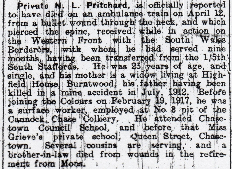 Extract from the 18 May 1918 edition of the Walsall Observer & South Staffordshire Chronicle recording the death of Nonnie Lysons Pritchard on the Western Front