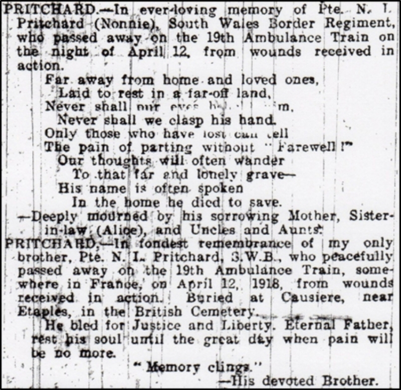 Family tributes to Nonnie Lysons Pritchard from the 4 May 1918 edition of the Walsall Observer & South Staffordshire Chronicle