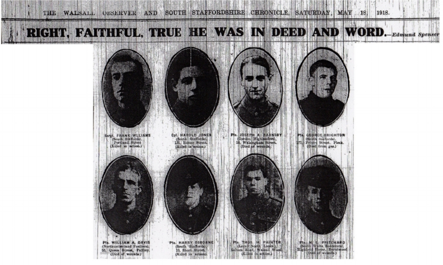 Extract from the 18 May 1918 edition of the Walsall Observer & South Staffordshire Chronicle recording the death of Nonnie Lysons Pritchard on the Western Front.