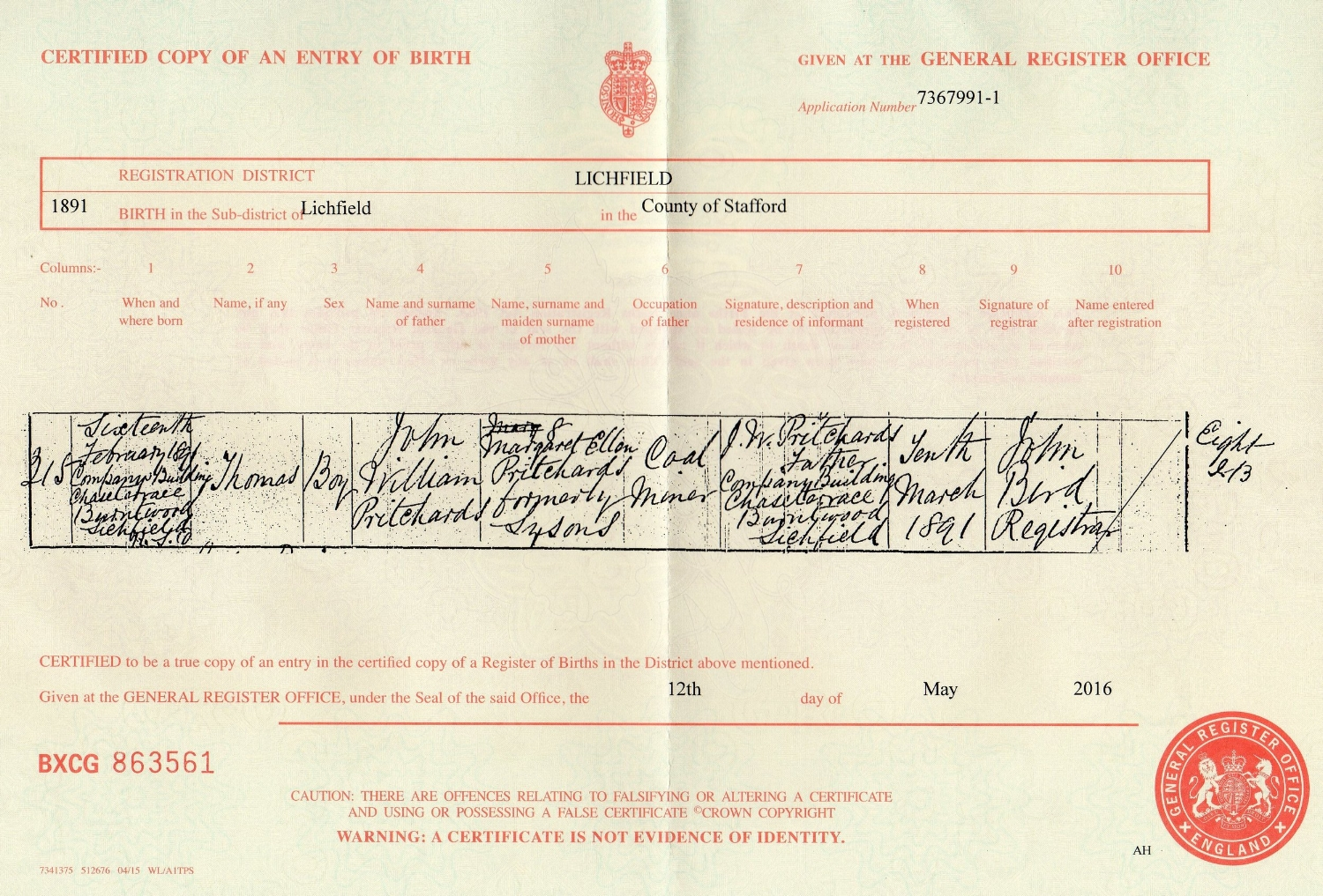 Copy of the Birth Certificate for Thomas Pritchard