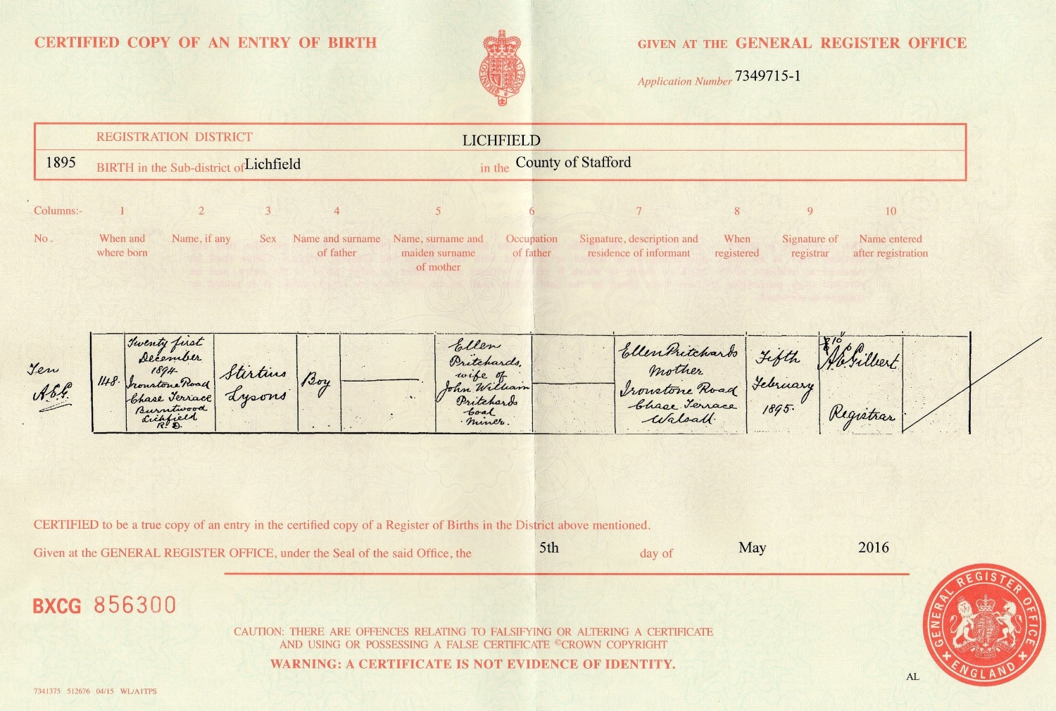 Copy of the Birth Certificate for Nonnie Lysons Pritchard (named Stirtius Lysons on the certificate)