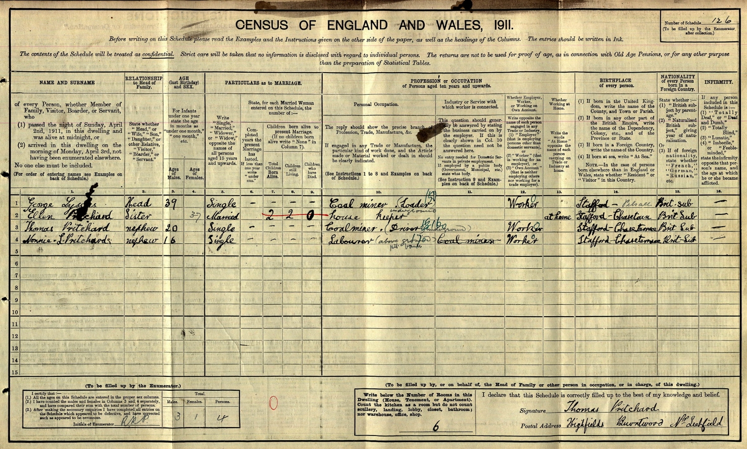 1911 Census for Margaret Ellen Pritchard (née Lysons) and her sons Thomas and Nonnie