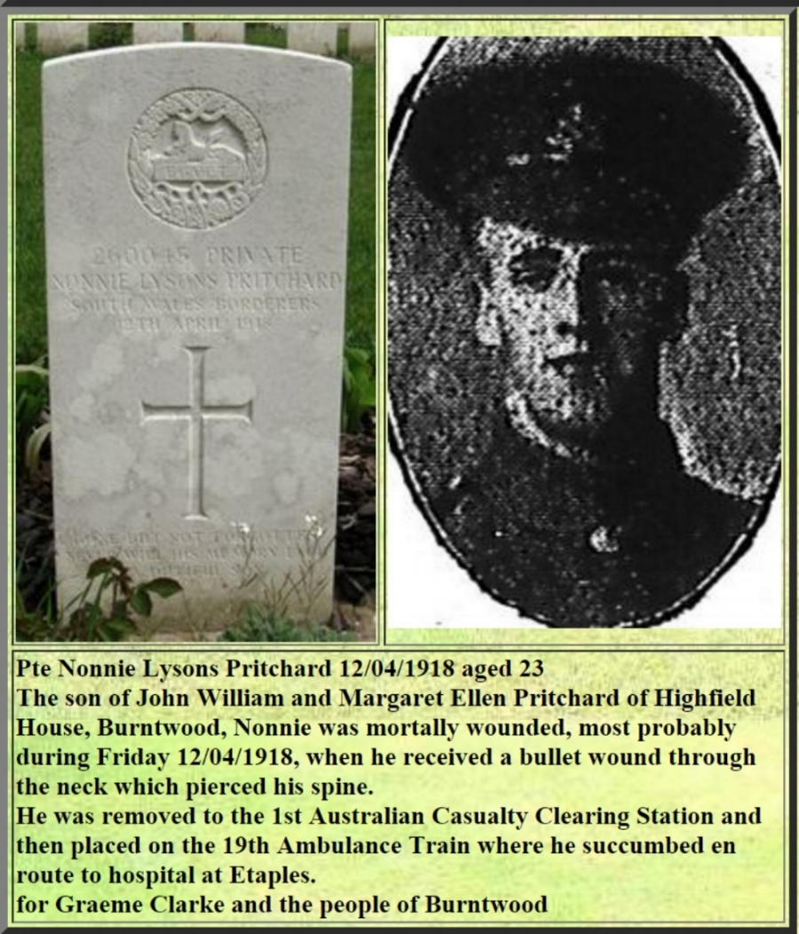 Extract for Nonnie Lysons Pritchard from the Inmemories website http://www.inmemories.com/Cemeteries/etaples.htm