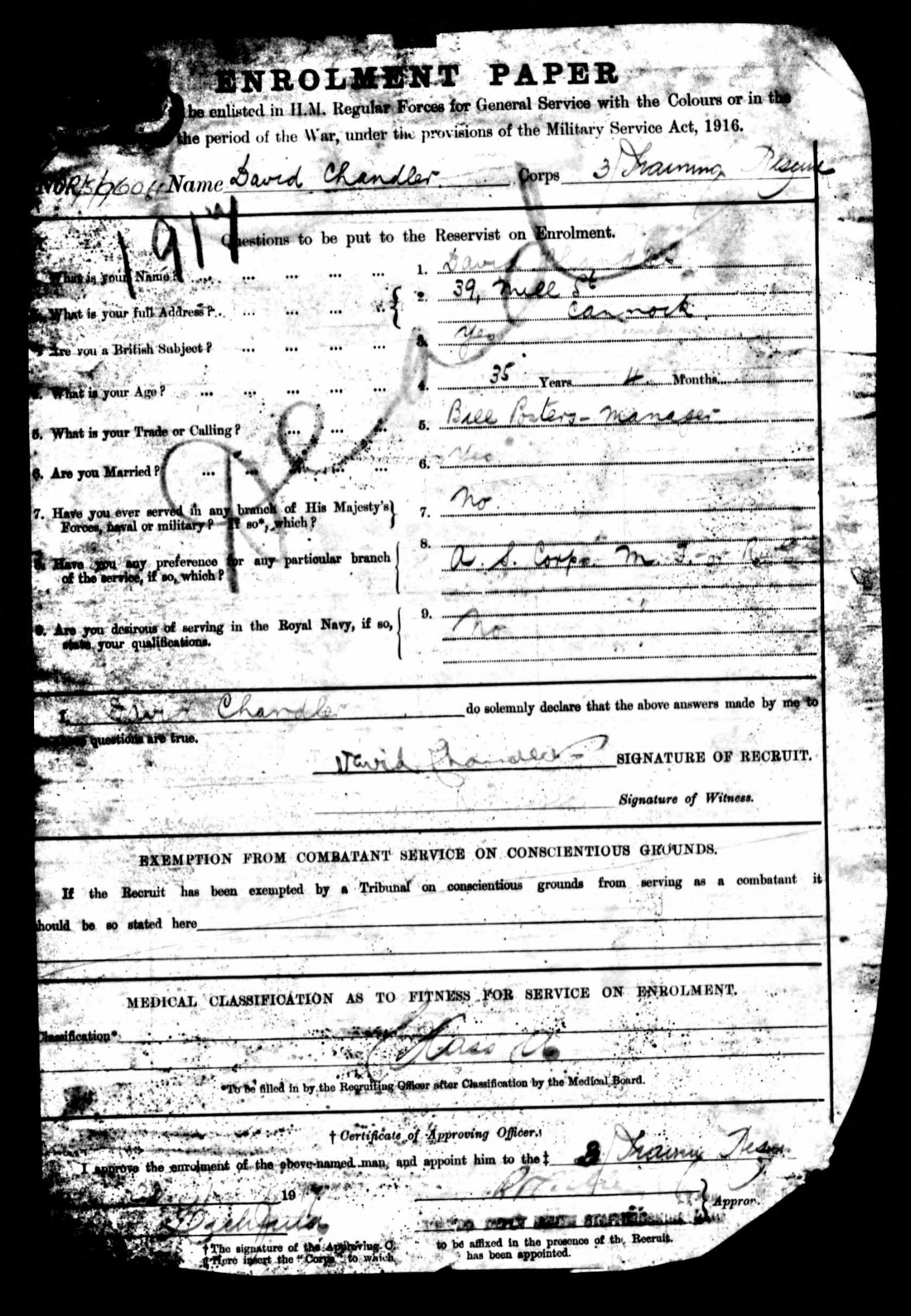 First page of David Chandler's attestation papers