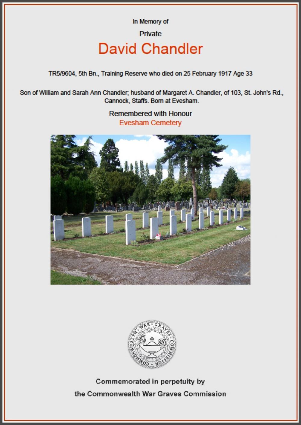 Commemorative certificate in memory of Private David Chandler