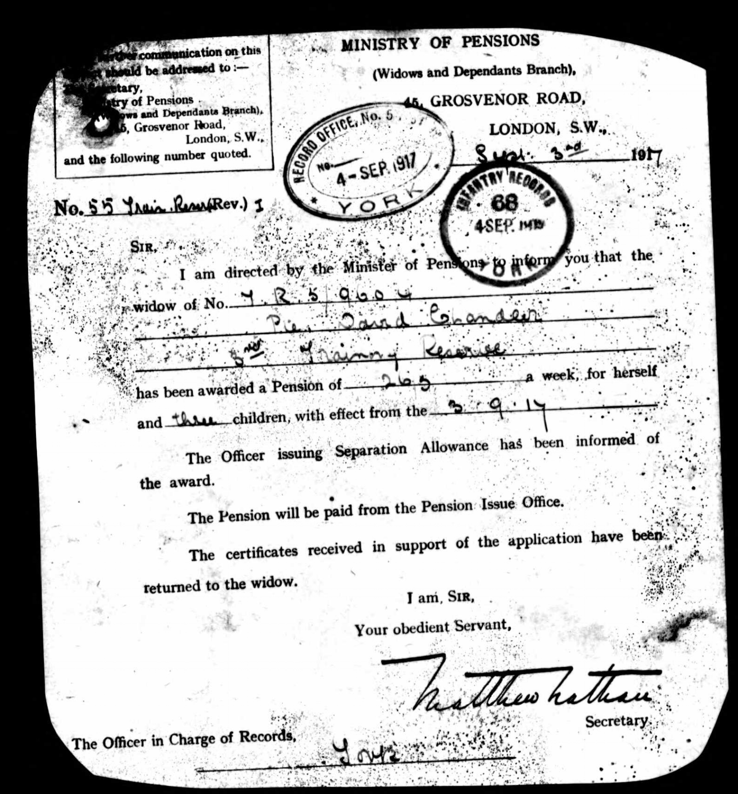 Notification of the award of an army pension to Margaret Ann Chandler to support her three children