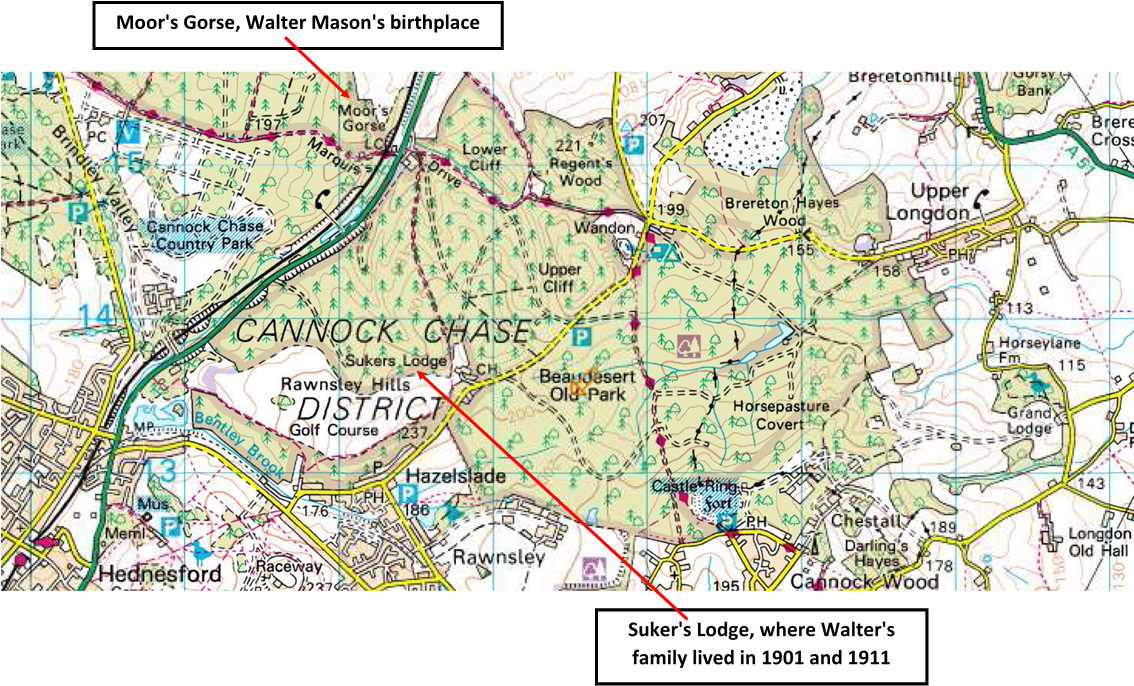 Ordnance Survey map showing Beaudesert, Moor's Gorse and Suker's Lodge