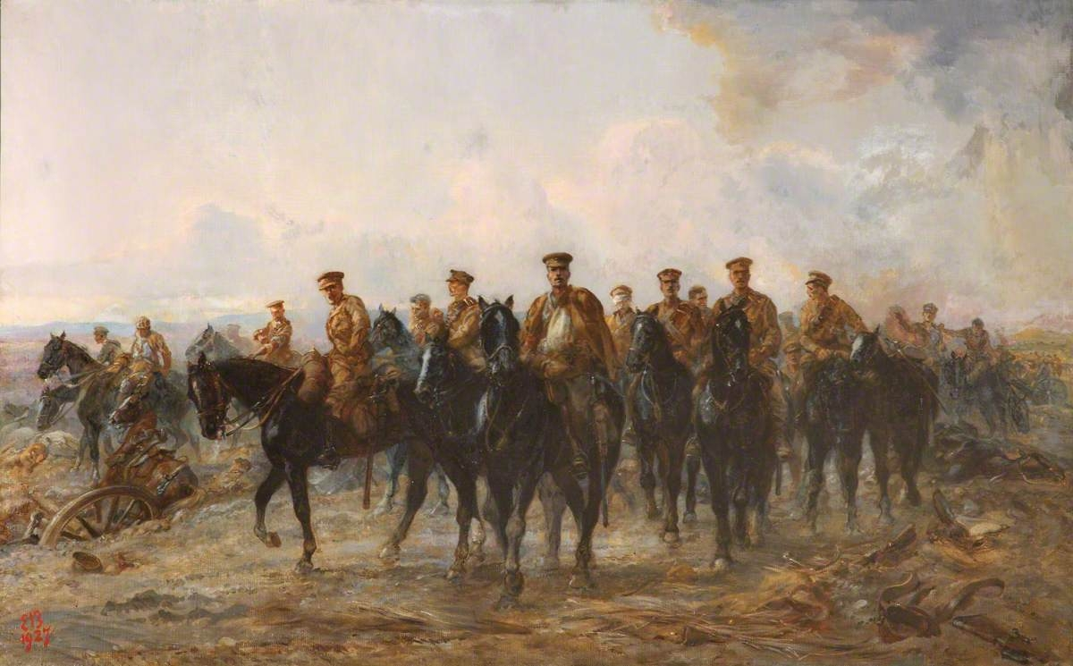 """The Royal Horse Guards Retreat from Mons, 1914"" painted by Elizabeth Southerden Thompson Butler"