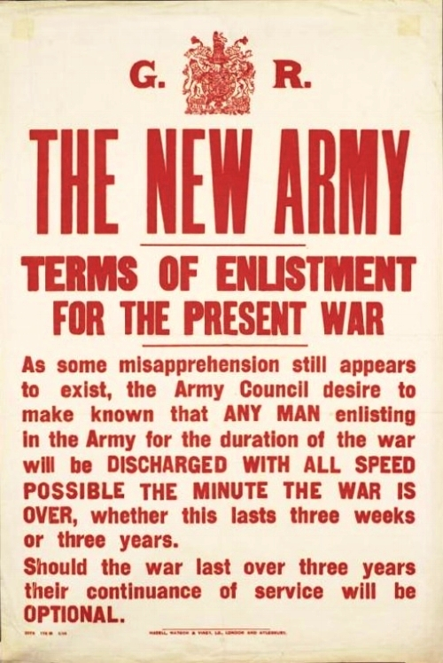 Poster showing the New Army Terms of Enlistment