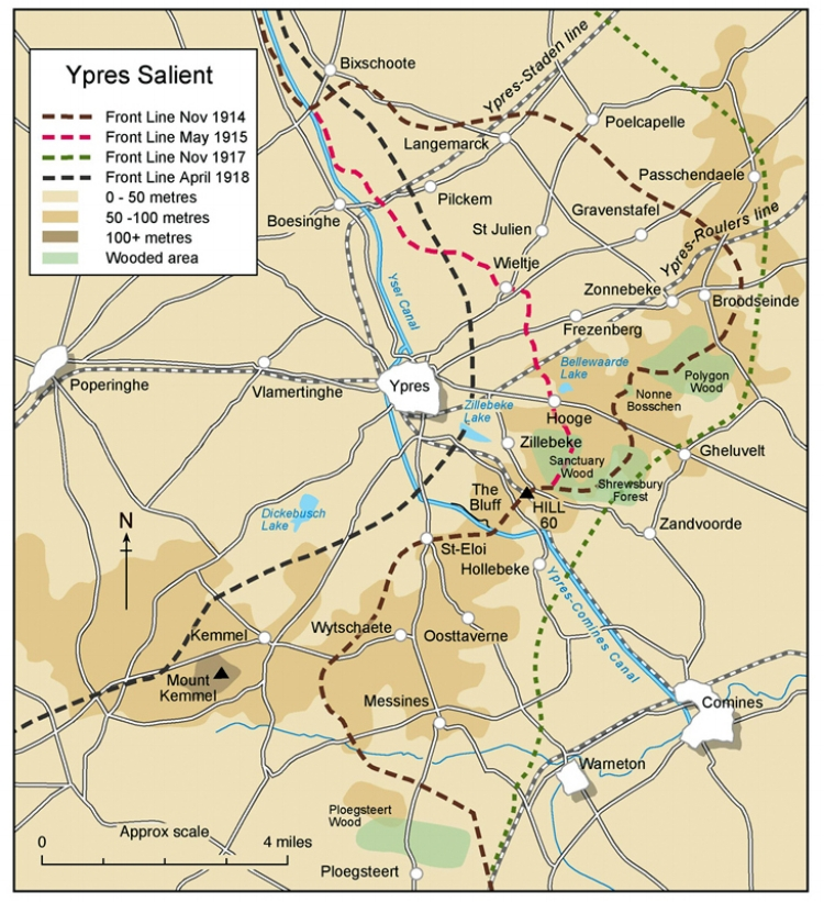 The Ypres Salient before and after the Second Battle of Ypres, April - May 1915