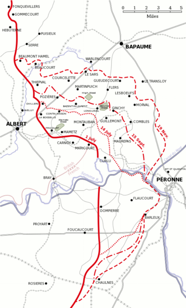 Map showing the advances British forces made by 14 July, 15 September and 19 November 1916 during the Battle of the Somme