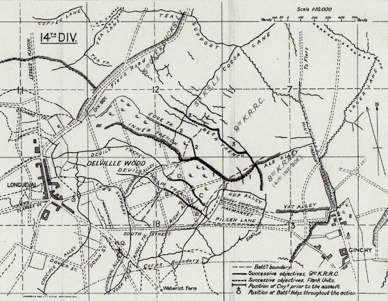 9th Battalion K.R.R.C. field map of Delville Wood at the time of their assault on 24 August 1914