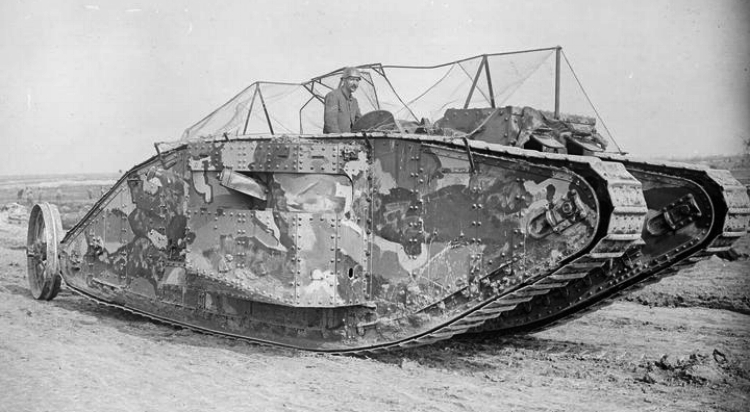 The first official photograph of a Mark I tank going into action, at the Battle of Flers-Courcelette