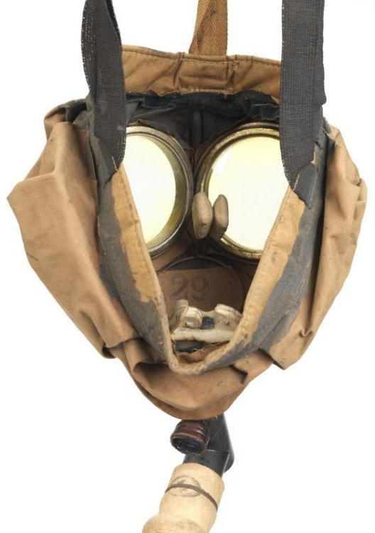 Inside (soldier's) view of small box respirator