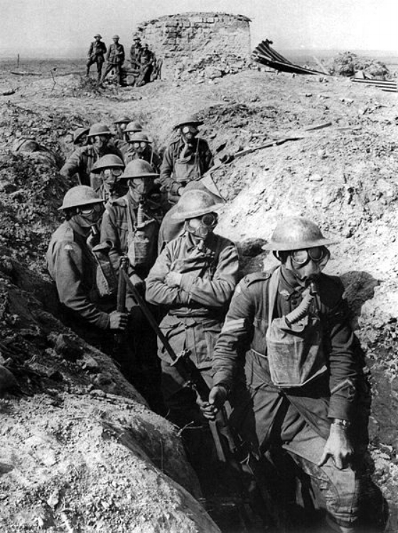Australian soldiers wearing small box respirators at Ypres, 1917