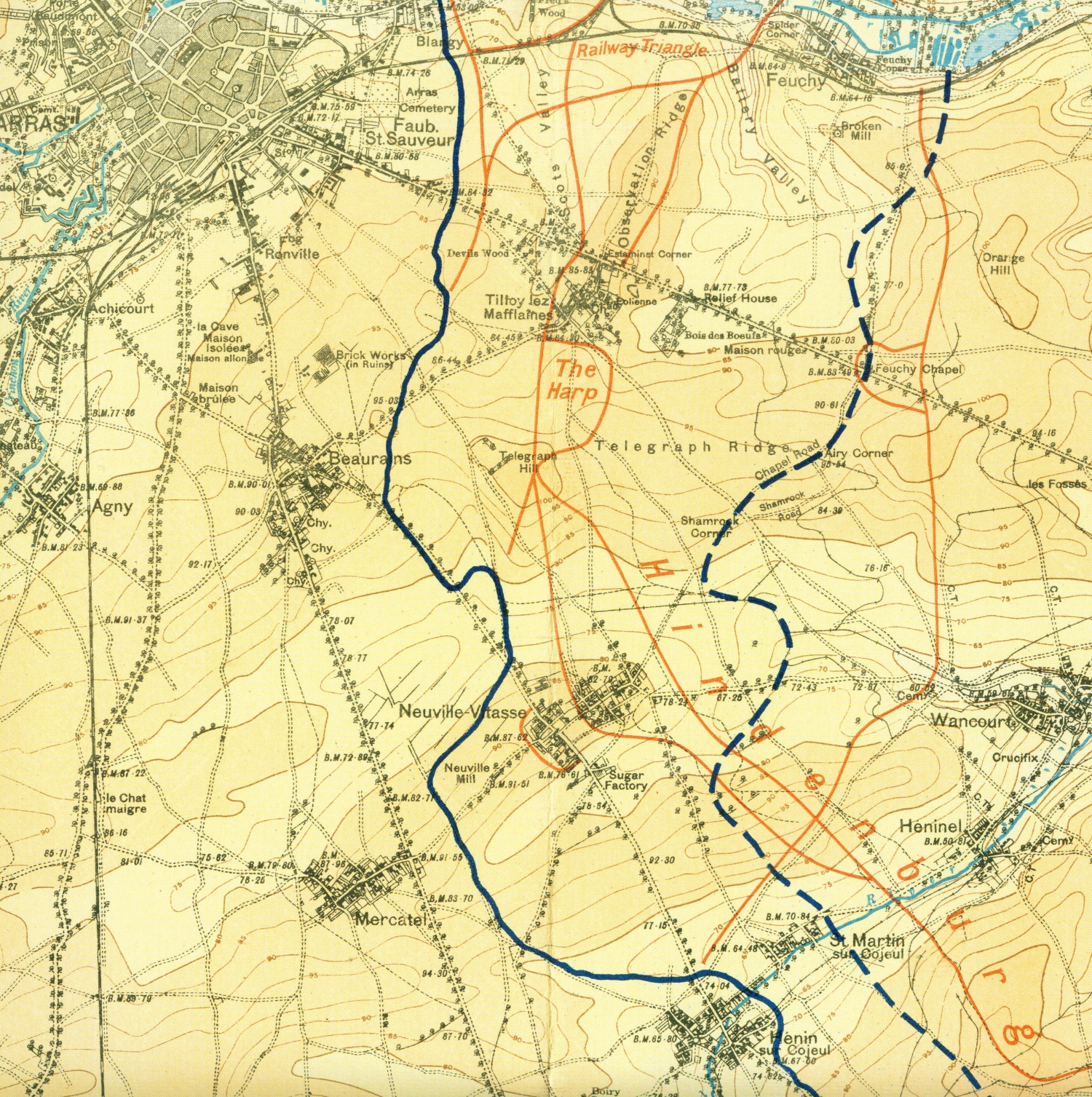 Map of the front lines on 9th April just east of Arras to Henin