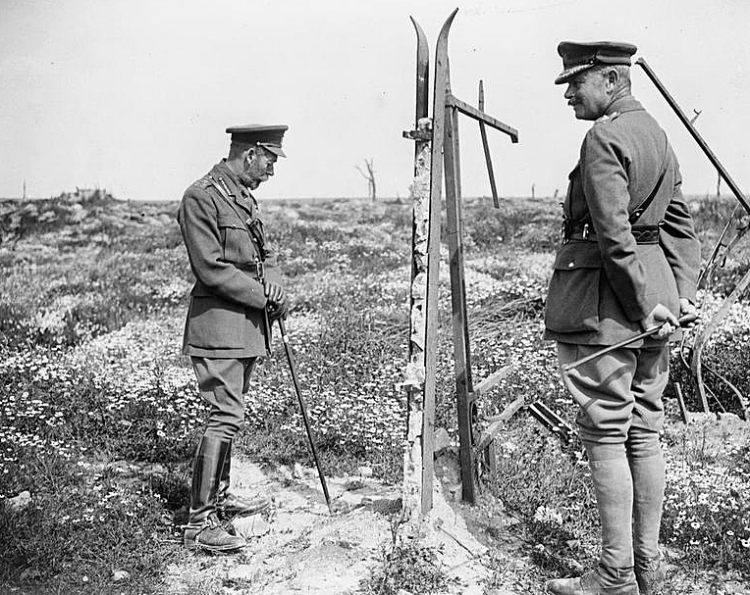 King George V with General Sir Julian Byng (Commander of the British Third Army) at the remains of Thiepval Church, 13 July 1917.