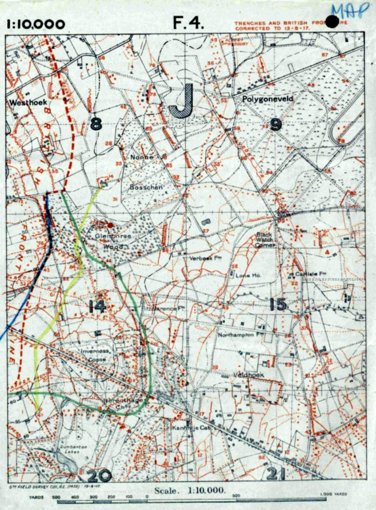 King's Royal Rifle Corps field map showing the locations of Nonne Boschen, Glencorse Wood, Herenthage Chateau, and Inverness Copse lying either side of the Menin Road.