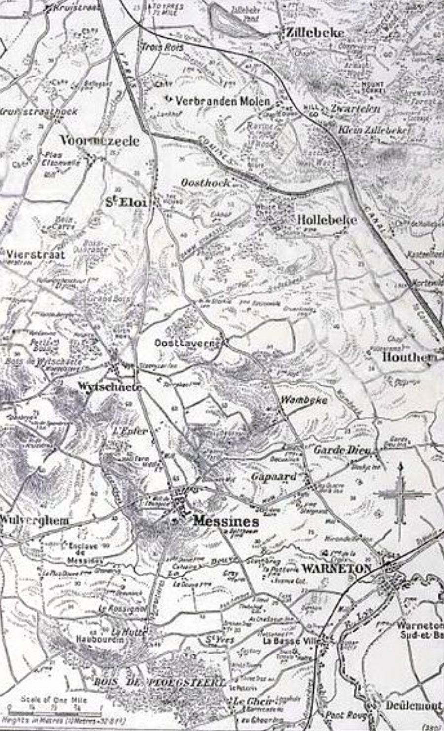 Map of the Messines-Wytschaete area 1917