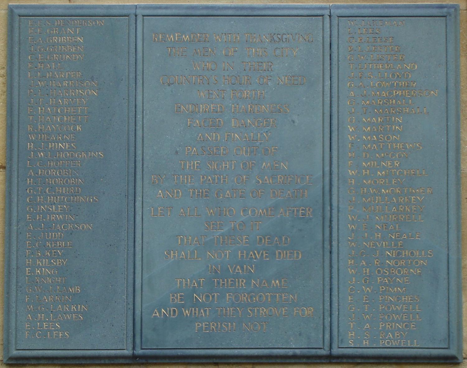 Lichfield War Memorial panel containing the dedication to Walter Mason