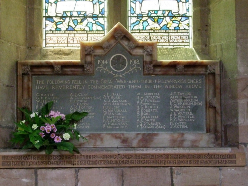 Dedication to Walter Mason on the War Memorial in the Parish Church of Saint Chad, Lichfield