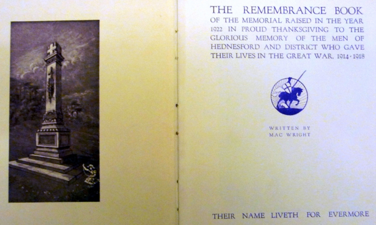 Inside pages from the Remembrance Book for the Hednesford War Memorial © Burntwood Family History Group