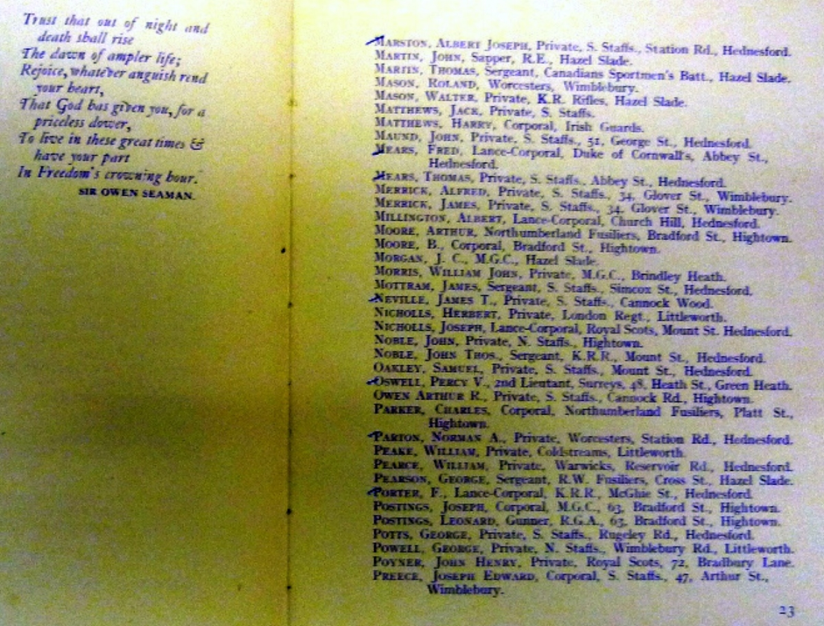 Inside pages from the Remembrance Book for the Hednesford War Memorial containing the dedication to Walter Mason