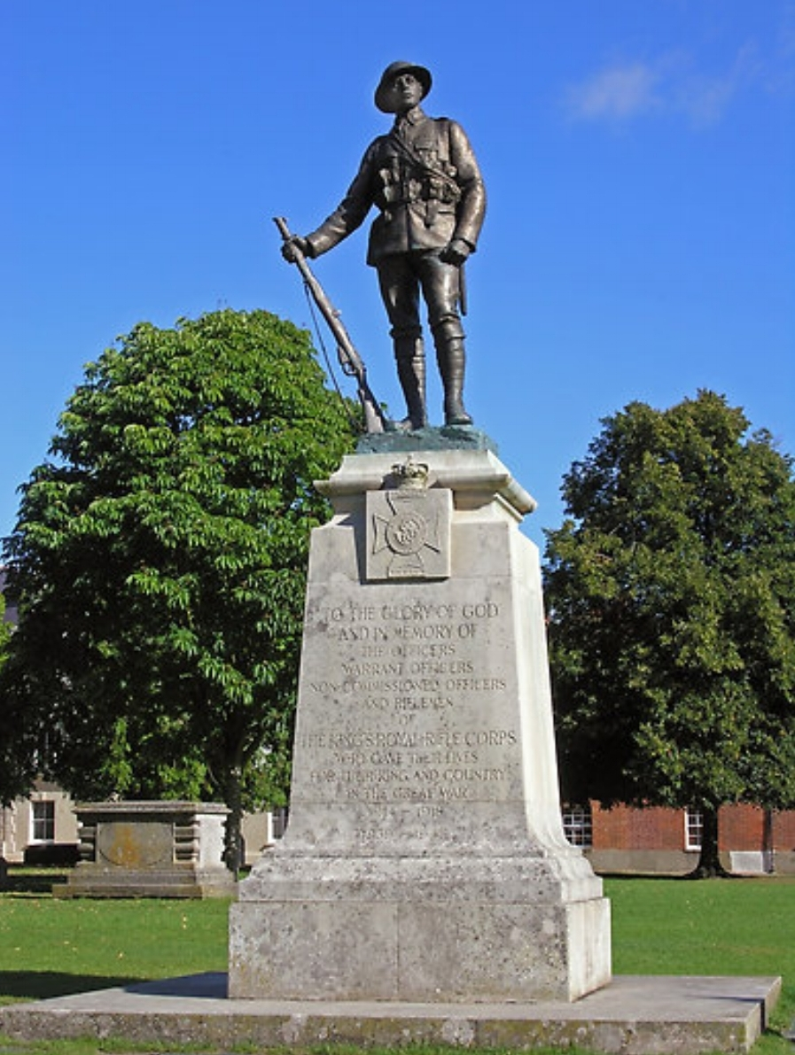 War Memorial in Winchester Cathedral Close to those soldiers of the King's Royal Rifle Corps who gave their lives in the Great War and the Second World War