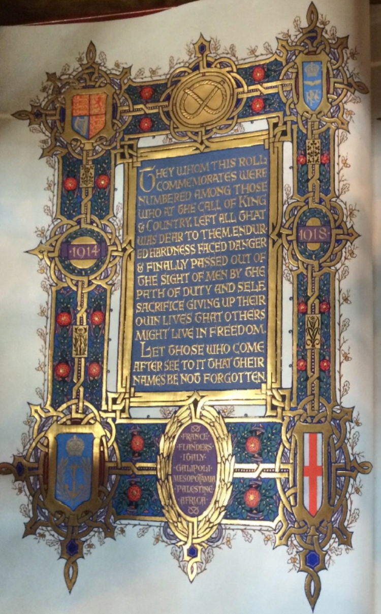Front Page from the Staffordshire Roll of Honour at Lichfield Cathedral
