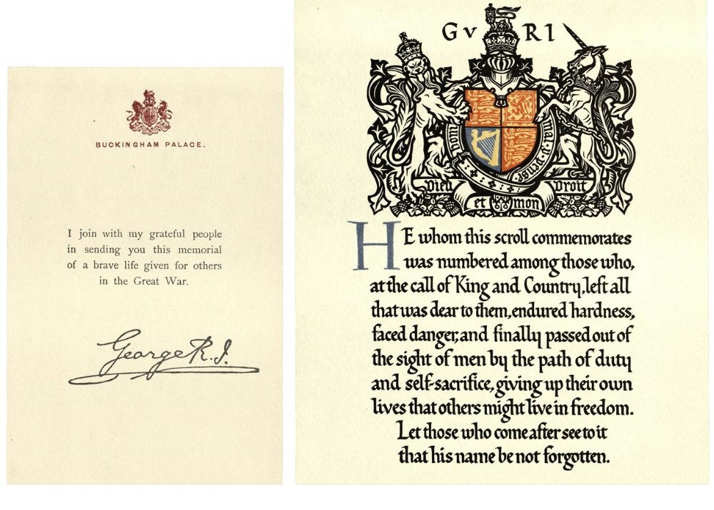 The next of kin of all members of the British and Empire Forces who died in the First World War were sent a message from The King, a scroll and a plaque. The message was printed on Buckingham Palace writing paper, and bore a facsimile of King George V's signature.