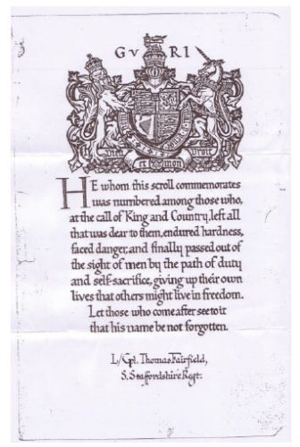Thomas Fairfield letter from King George V