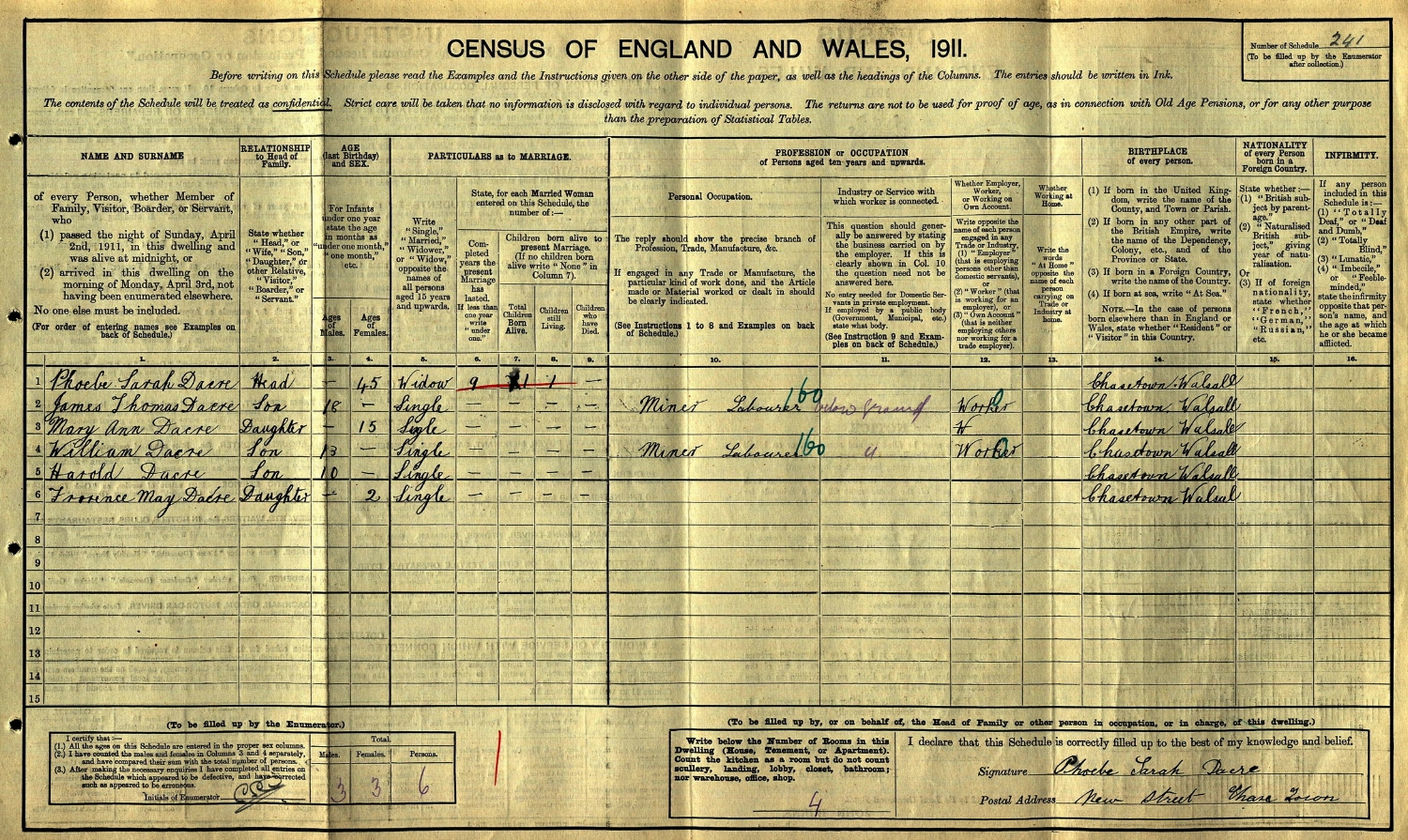 Extract from the 1911 census showing the family of William Jude and Phoebe Sarah Daker