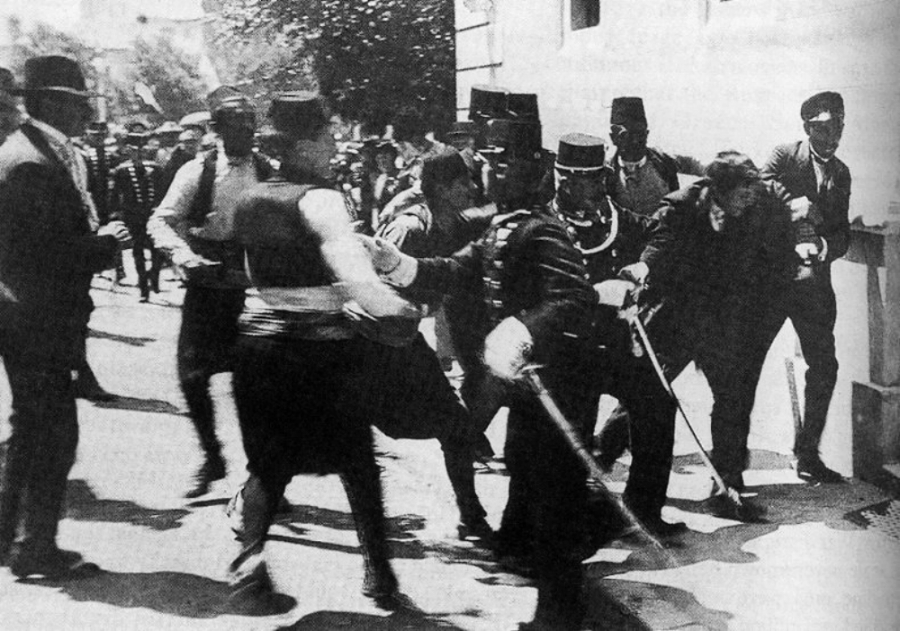 The arrest of Gavrilo Princip on 28th June 1914 after the assassination of Archduke Franz Ferdinand and his wife.