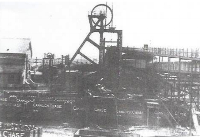 """Cannock Chase Colliery Company. No. 3 Pit, known locally as """"The Plant"""", was situated in Plant Lane, Chase Terrace. The winding house can be seen on the left of the picture."""